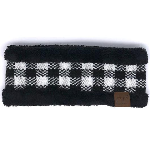 Buffalo Plaid with Fuzzy Sherpa Lining - CC Headband
