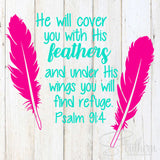 He Will Cover You With His Feathers Decal