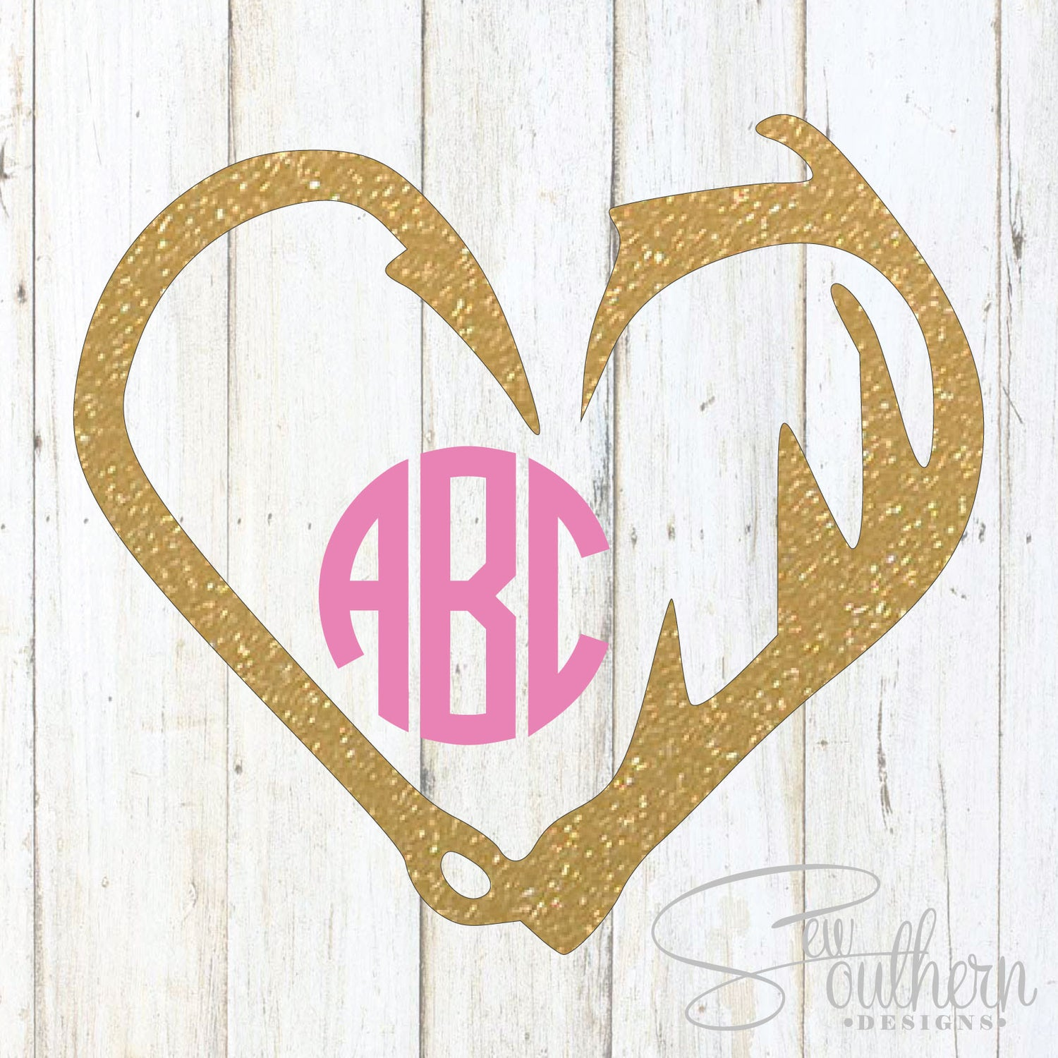 Glitter Hook and Antlers Monogram Decal