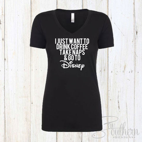 I Just Want To Go To Disney Vneck Top