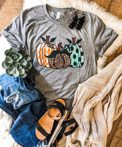 Patterned Fall Pumpkins - Grey - Graphic T-Shirt