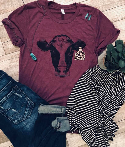 Leopard Cow Tag - Maroon - Graphic T-Shirt
