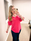 Hello Summer Ruffle Sleeve - Top - Hot Pink