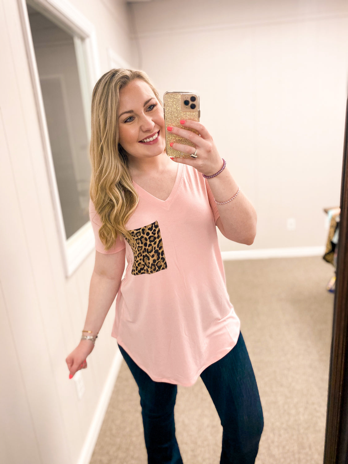 Lindsey Leopard Pocket - Top - Blush