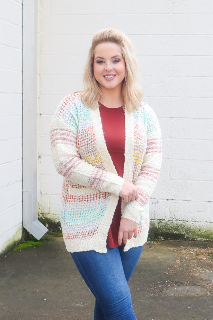 Sprinkled Cable Knit Sweater - Cardigan