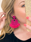 Tassel Bead Circle Earrings - Fuchsia
