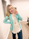 Savannah Striped Button - Cardigan - Blue Mint