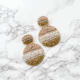 Brielle Beaded Disc Earrings - Cream