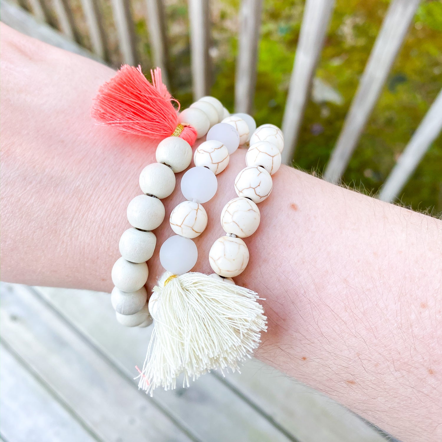 Heather Beaded Bracelet Set with Tassels