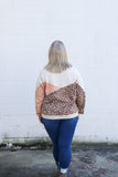 Weekend Ready Leopard Colorblock Pullover Top