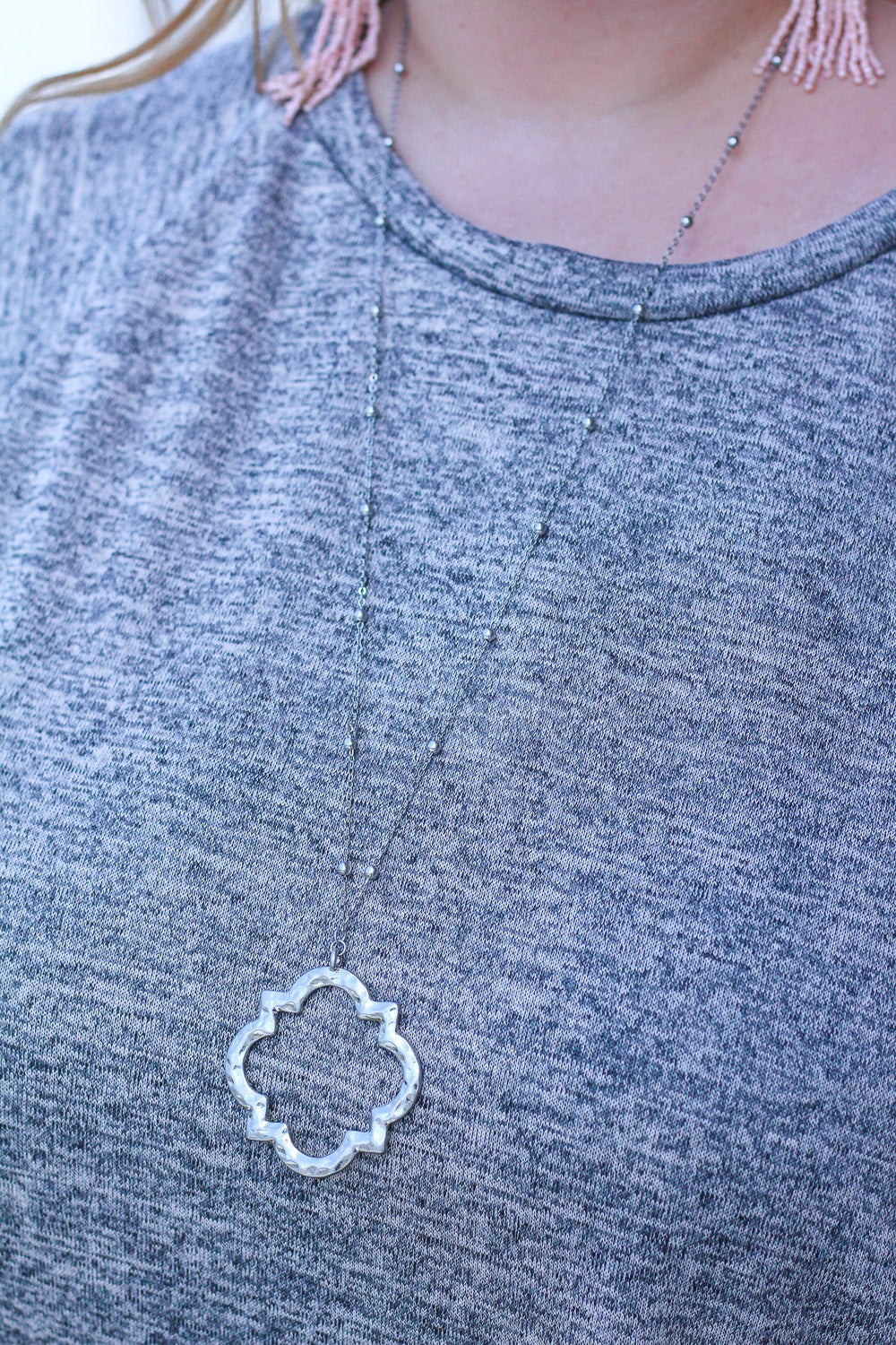 Hammered Quatrefoil Pendant Necklace - Silver