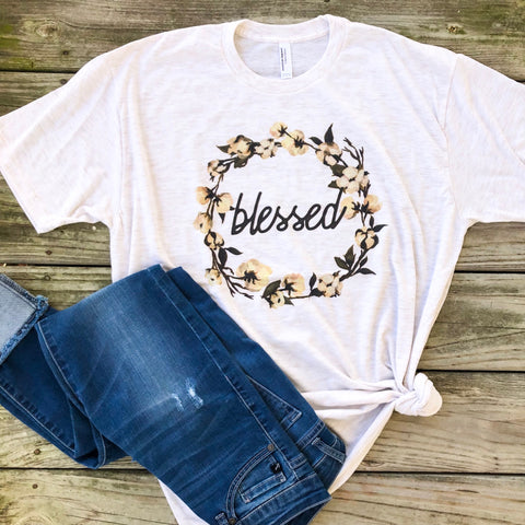 Blessed Cotton Wreath - Graphic T-Shirt