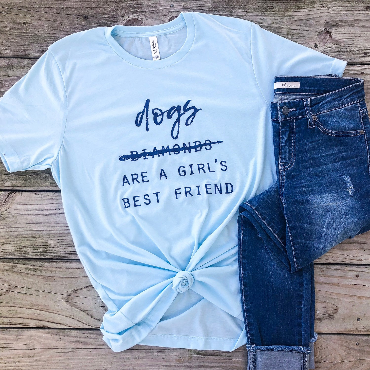 Dogs Are A Girl's Best Friend - Blue - Graphic T-Shirt