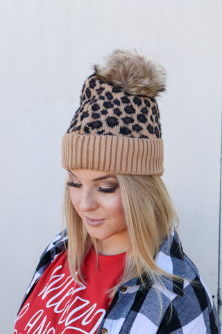 *BF DEAL* Leopard Beanies with Fur Ball