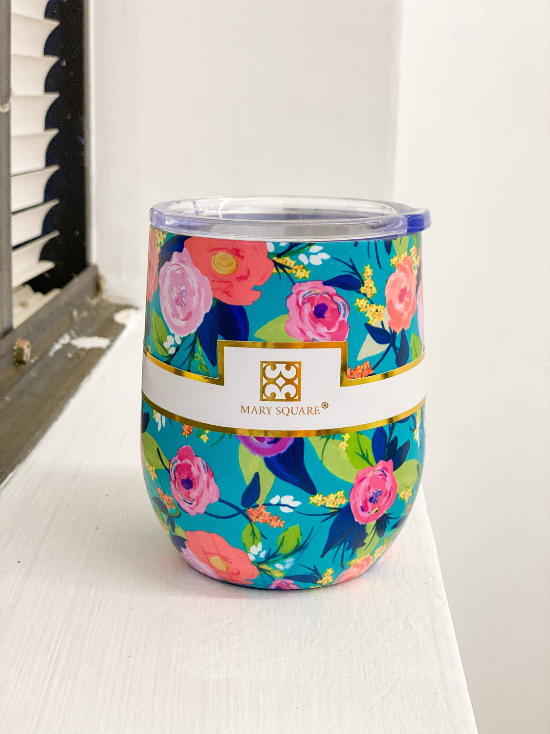 Floral Wine Tumbler with Lid