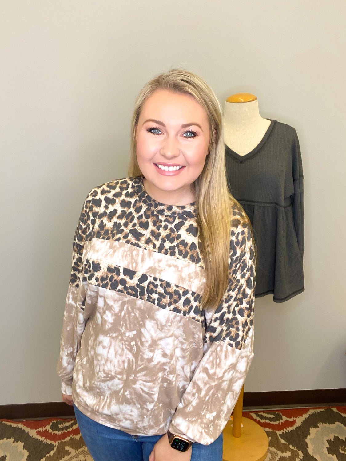 Nothing Typical Tie Dye Leopard Pullover - Top