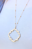 Hammered Quatrefoil Pendant Necklace - Gold