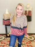 Mean Something Leopard Colorblock Pullover - Top