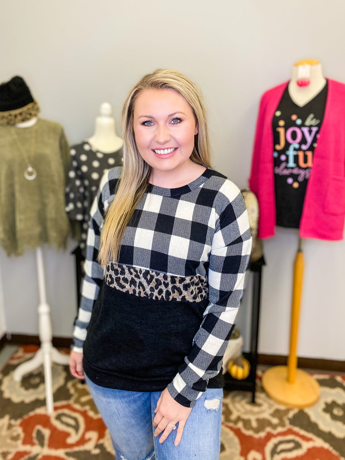 The Perfect Mix Leopard Buffalo Plaid Pullover - Top