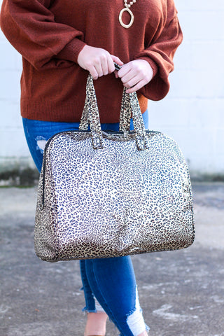 *BF DEAL* Metallic Leopard Weekender Bag