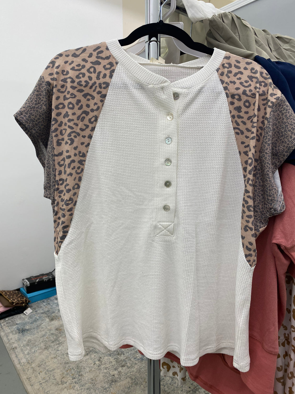 Feeling Creative Button Leopard Sleeve Top