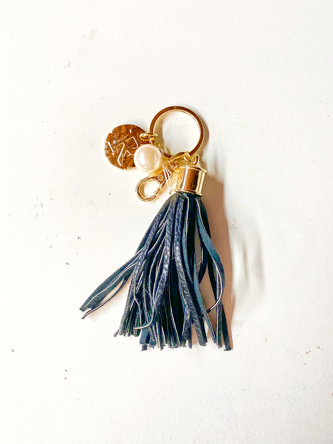 Leather Fringe Initial Keychain