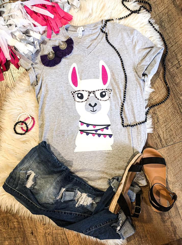Llama with Leopard Glasses - Grey - Graphic T-Shirt