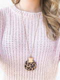 Leopard Leather Circle Necklace