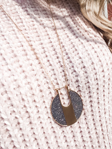 Glitter Side Disc Necklace - Dark Grey