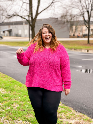 Call It Cozy Popcorn - Sweater - Hot Pink