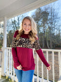 Bold and Wild Leopard - Top - Burgundy