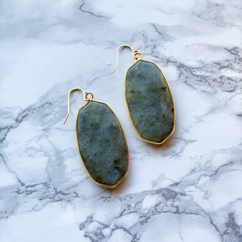 *DUPE* Stone Drop Earrings - Grey