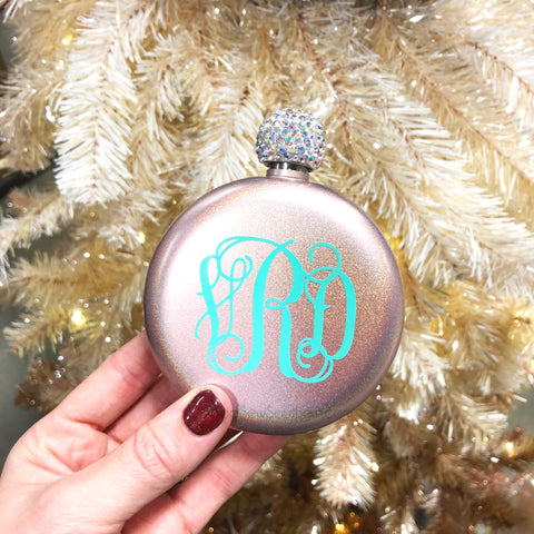 Monogram Glitter Flask with Rhinestone Lid - 5oz