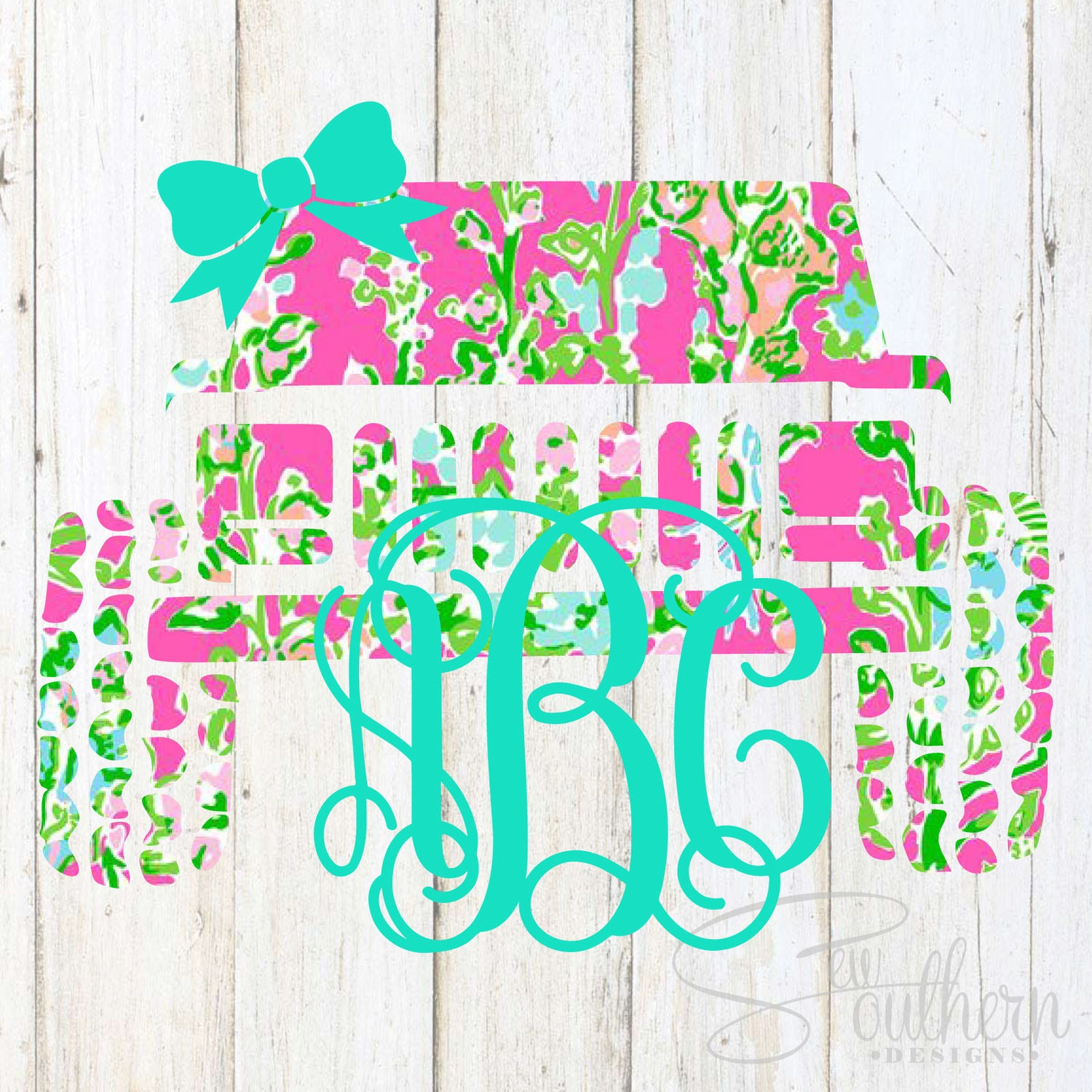 Lilly Jeep Cherokee Monogram Decal