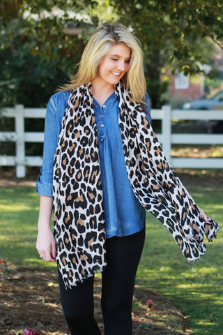 Leopard Print Scarf - Ivory