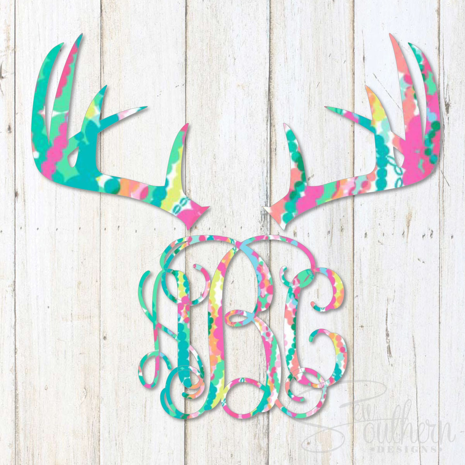 Lilly Deer Antlers Monogram Decal