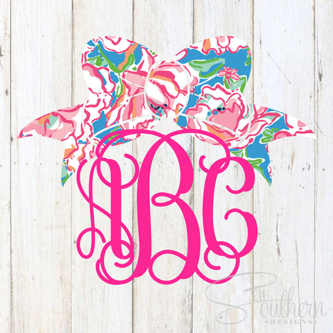 Lilly Bow Monogram Decal