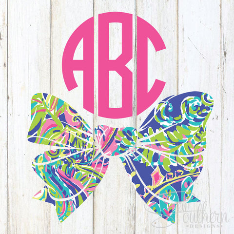 Lilly Bottom Bow Monogram Decal