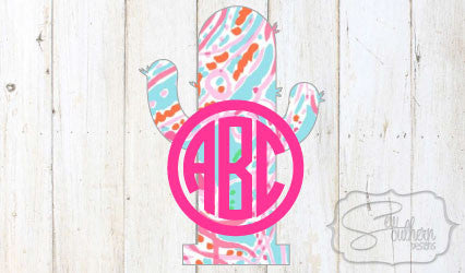 Lilly Cactus Monogram Decal