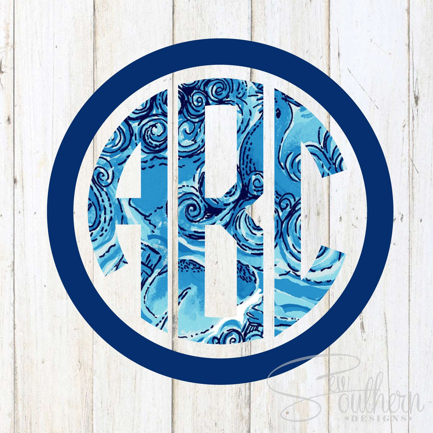 Lilly Two Color Circle Framed Monogram Decal
