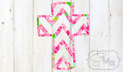 Lilly Chevron Cross Decal