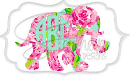 Elephant Lilly Monogram Decal