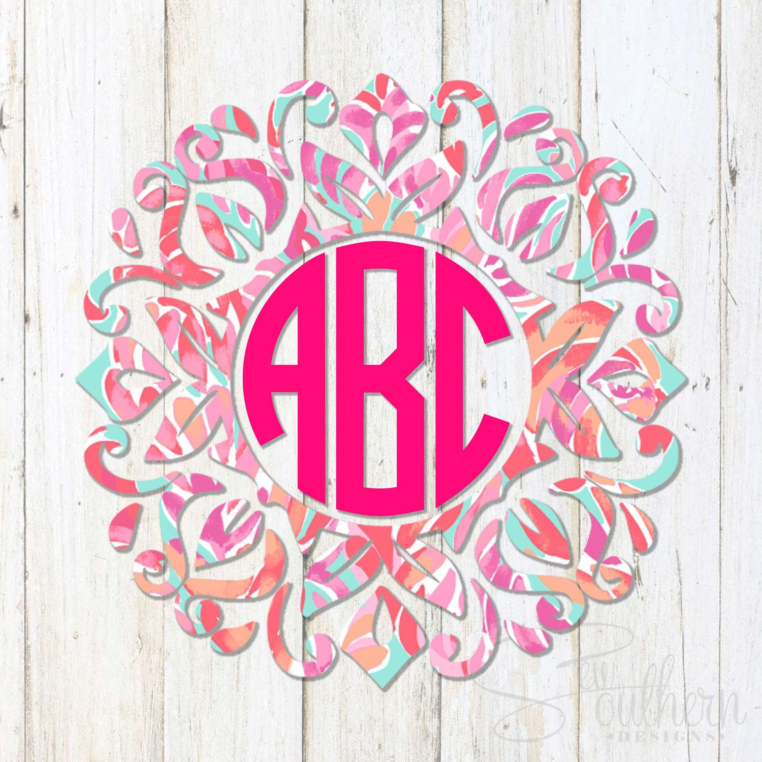 Lilly Fancy Frame Monogram Decal