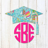 Lilly Graduation Cap Monogram Decal - No Date