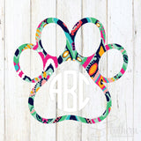 Lilly Paw Outline Monogram Decal