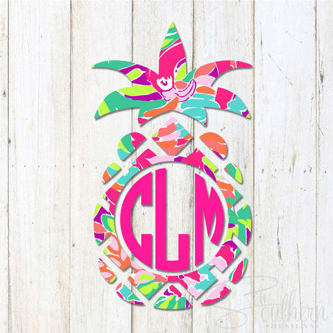 Pineapple Lilly Monogram Decal