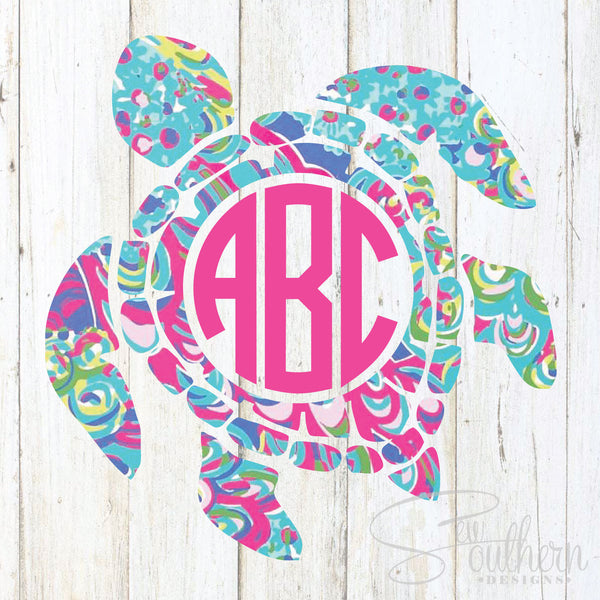 Download Lilly Sea Turtle Monogram Decal - Sew Southern Designs