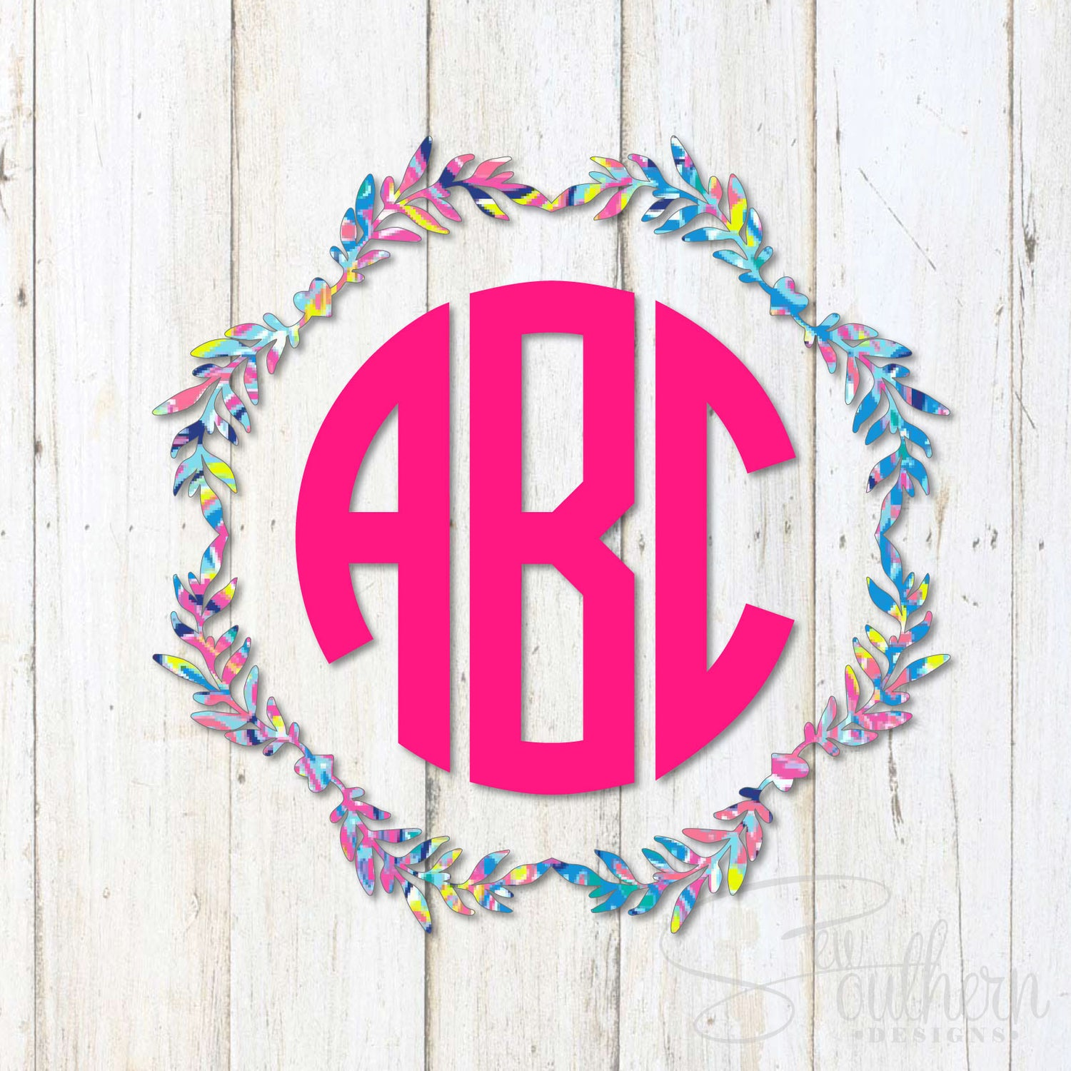 Lilly Wreath Frame Monogram Decal