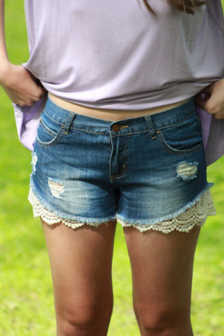 Lovely Lace Denim Shorts