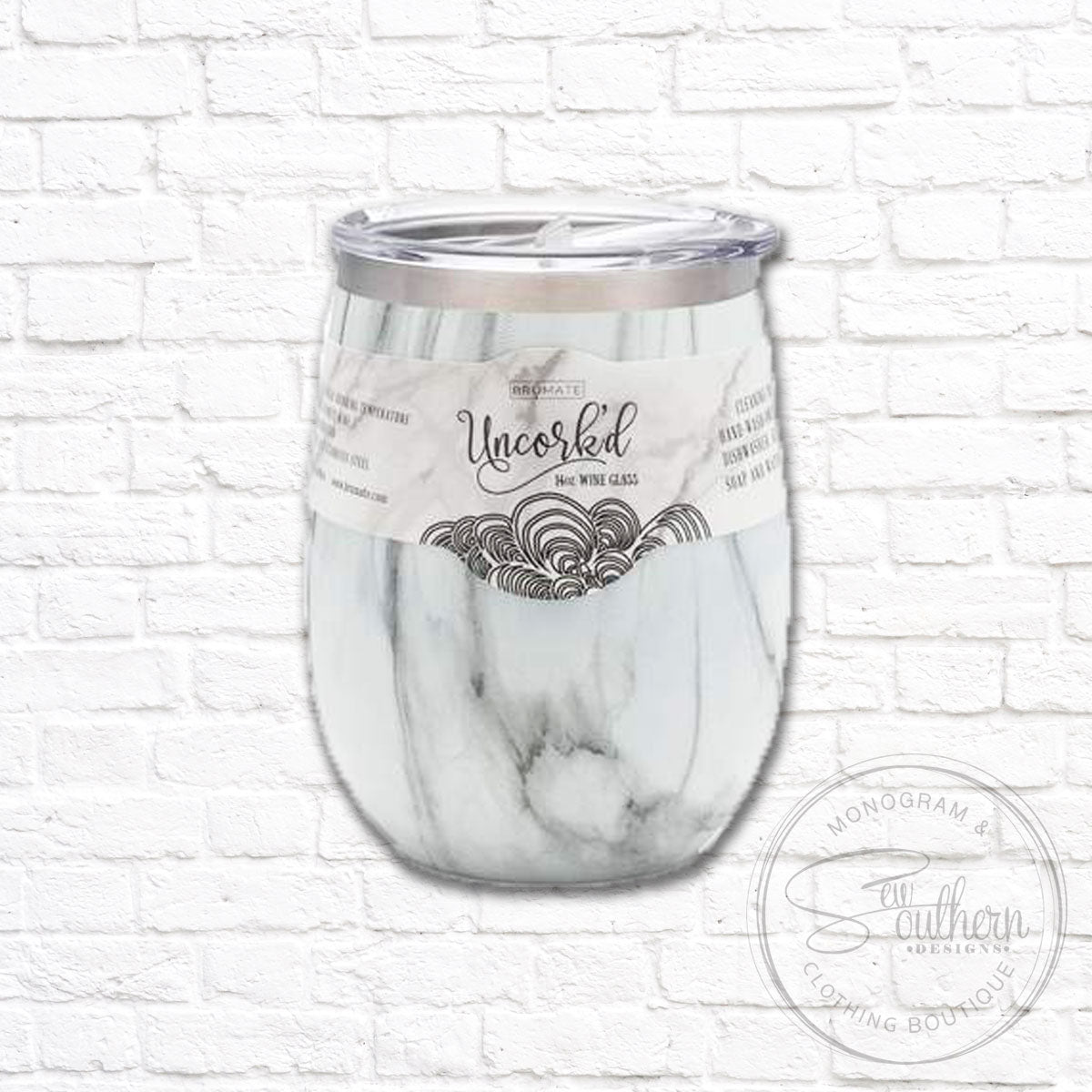 14oz Marble Wine Tumbler with Monogram